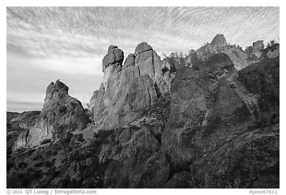 Rock towers above Juniper Canyon, late afternoon. Pinnacles National Park (black and white)