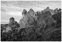 Rock towers above Juniper Canyon, late afternoon. Pinnacles National Park ( black and white)