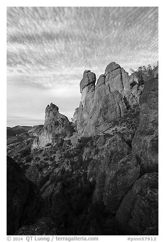 Rock towers and cirrocumulus clouds. Pinnacles National Park (black and white)