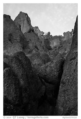 Pinnacle rocks above at sunset. Pinnacles National Park (black and white)