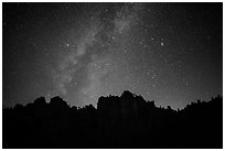 High Peaks pinnacles and Milky Way. Pinnacles National Park ( black and white)
