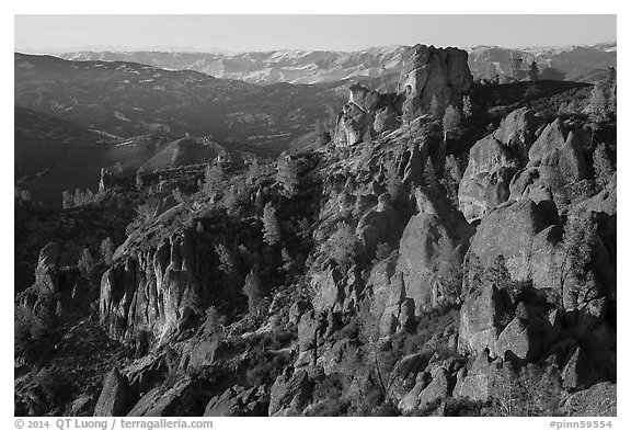 Pinnacles and Square Block Rock at sunset. Pinnacles National Park (black and white)
