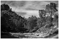 Dry Chalone Creek bed in the fall. Pinnacles National Park ( black and white)