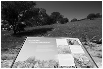 Interpretive sign near West entrance. Pinnacles National Park ( black and white)
