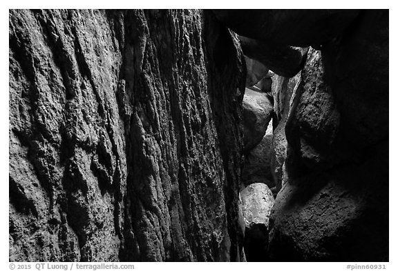 Narrow talus cave, Bear Gulch Cave. Pinnacles National Park (black and white)