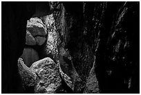 Cave walls and boulders, Bear Gulch Cave. Pinnacles National Park ( black and white)