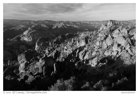 Balconies and Square Block in late afternoon. Pinnacles National Park (black and white)
