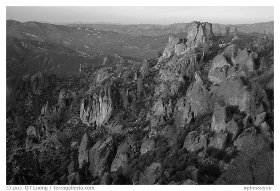 Rock spires at dusk. Pinnacles National Park (black and white)