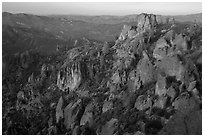 Rock spires at dusk. Pinnacles National Park ( black and white)