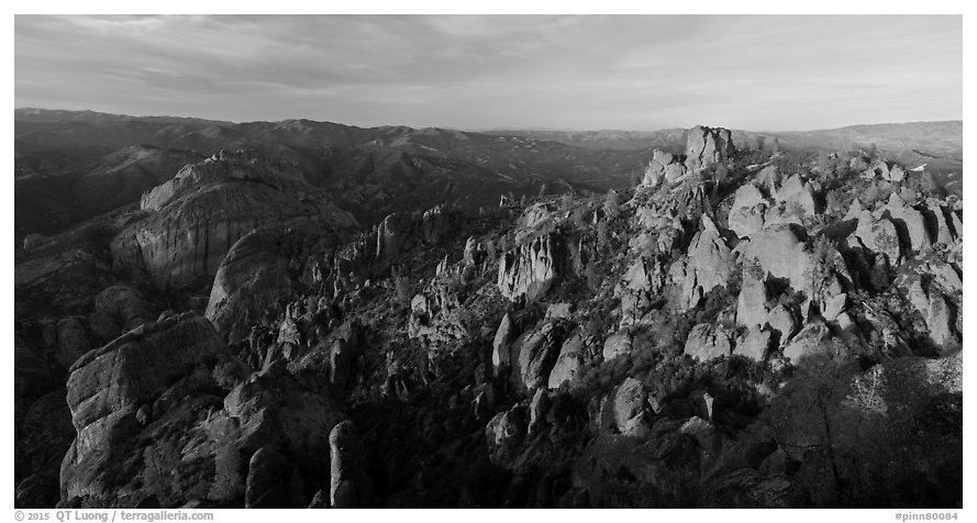 Balconies cliffs and rock pinnacles at sunset. Pinnacles National Park (black and white)