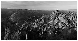 Balconies cliffs and rock pinnacles at sunset. Pinnacles National Park (Panoramic black and white)