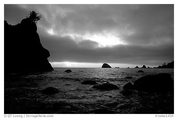 Seastacks and clouds, Hidden Beach, sunset. Redwood National Park (black and white)
