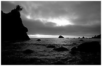 Seastacks and clouds, Hidden Beach, sunset. Redwood National Park ( black and white)