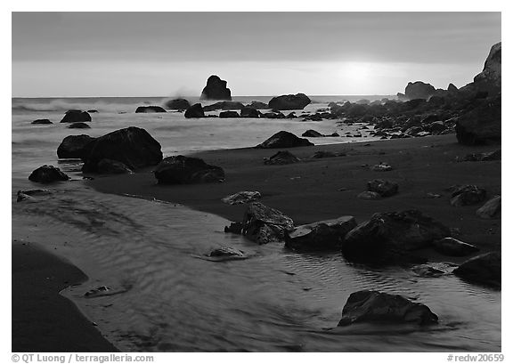 Stream and beach at sunset, False Klamath Cove. Redwood National Park (black and white)