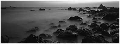 Etheral ocean motion at dusk. Redwood National Park (Panoramic black and white)
