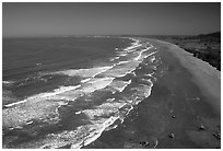 Wawes and Crescent Beach from above. Redwood National Park ( black and white)