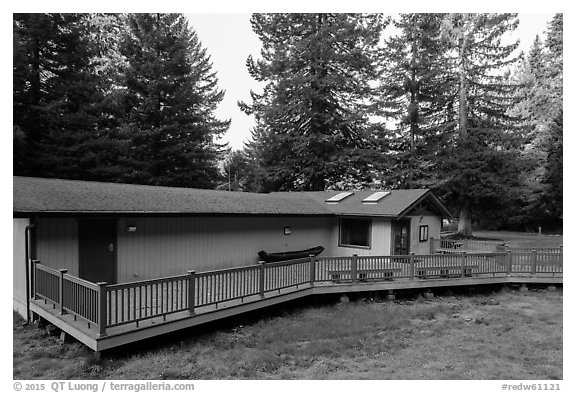 Hiouchi Information center. Redwood National Park (black and white)