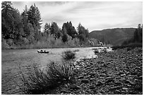 Smith River and boaters, Jedediah Smith Redwoods State Park. Redwood National Park ( black and white)