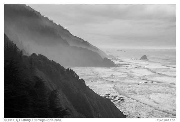 Hills plunge into ocean near Enderts Beach. Redwood National Park (black and white)