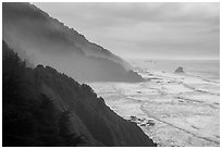 Hills plunge into ocean near Enderts Beach. Redwood National Park ( black and white)