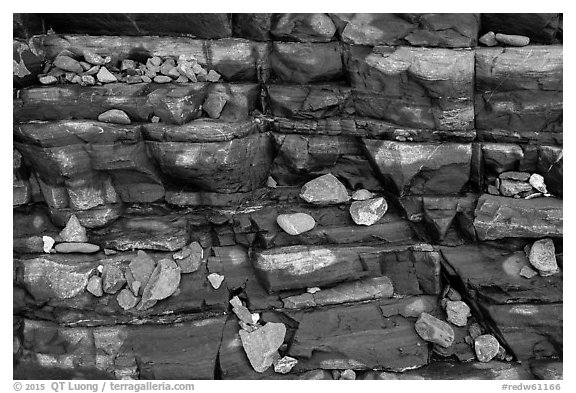 Close-up of rocks and stratified slab, Enderts Beach. Redwood National Park (black and white)