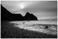 Sun, surf, and pebbles, Enderts Beach. Redwood National Park ( black and white)