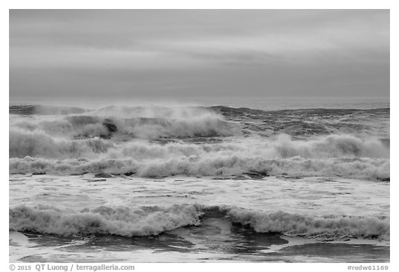 Breaking surf, Enderts Beach. Redwood National Park (black and white)
