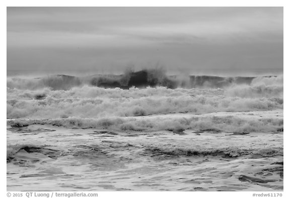 Breaking waves, Enderts Beach. Redwood National Park (black and white)