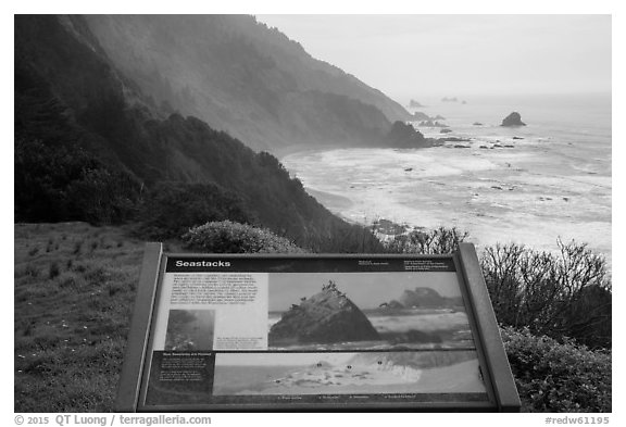 Enderts Beach, Seastacks interpretive sign. Redwood National Park (black and white)