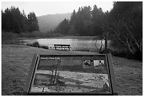 Pond and interpretive sign. Redwood National Park ( black and white)