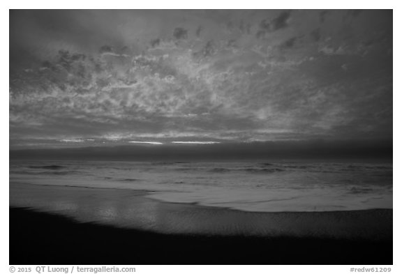 Brilliant clouds at sunset, Gold Bluffs Beach, Prairie Creek Redwoods State Park. Redwood National Park (black and white)