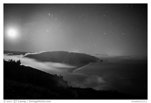 Mouth of Klamath River and moon at night. Redwood National Park (black and white)