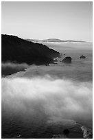 Costal clouds in early morning, Klamath River Overlook. Redwood National Park ( black and white)