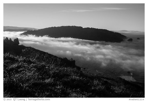 Sea of clouds at the mouth of Klamath River. Redwood National Park (black and white)