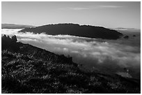 Sea of clouds at the mouth of Klamath River. Redwood National Park ( black and white)