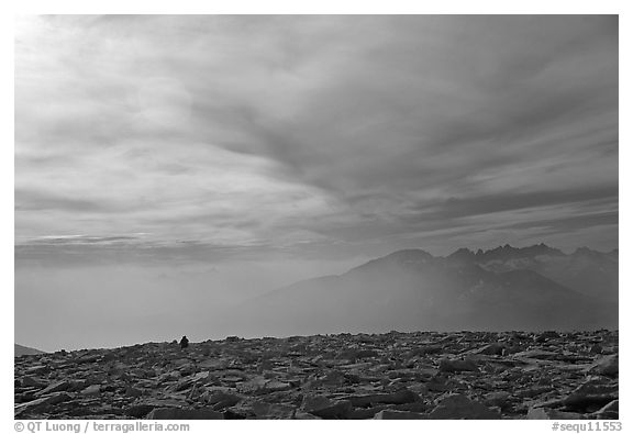Clouds and distant range from Mt Whitney summit. Sequoia National Park (black and white)