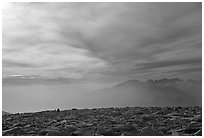 Clouds and distant range from Mt Whitney summit. Sequoia National Park, California, USA. (black and white)