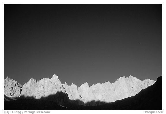 Mt Whitney range at sunrise and blue sky. Sequoia National Park (black and white)