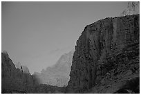 First light on Mt Whitney chain. Sequoia National Park, California, USA. (black and white)