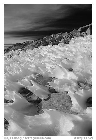 Wind-blown snow near  summit of Mt Whitney. Sequoia National Park (black and white)