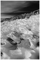 Wind-blown snow near  summit of Mt Whitney. Sequoia National Park, California, USA. (black and white)