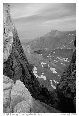 Looking down through  gap between  Mt Whitney needles. Sequoia National Park (black and white)