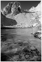 Frozen lake near Trail Camp. Sequoia National Park, California, USA. (black and white)