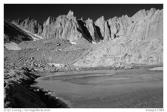 Frozen Consultation lake and Mt Whitney chain. Sequoia National Park (black and white)