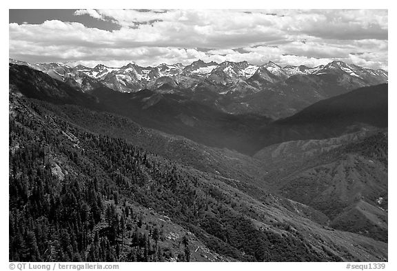 Panorama of  Western Divide from Moro Rock. Sequoia National Park (black and white)