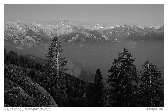 Western Divide, sunset. Sequoia National Park (black and white)