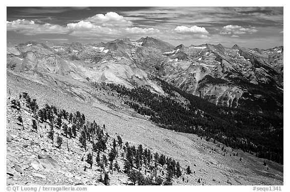 Western Divide from Alta Peak. Sequoia National Park (black and white)