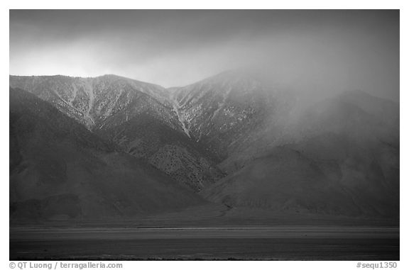 Clearing storm over  Sierras from Owens Valley, sunset. Sequoia National Park (black and white)