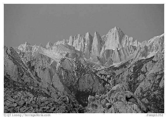 Alabama hills and Mt Whitney, dawn. Sequoia National Park (black and white)