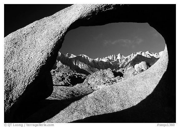 Alabama hills arch II and Sierras, early morning. Sequoia National Park (black and white)